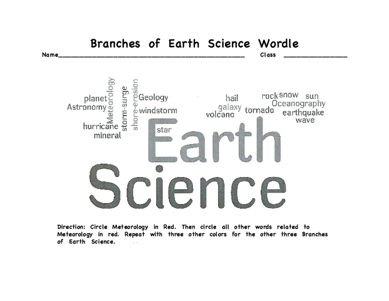 Branches of Earth Science Wordle 5th 9th Grade Worksheet – Earth Science Worksheet