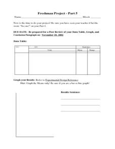 Freshman Project-Part 5 Worksheet