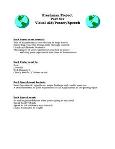 Freshman Project Part, Six-Visual Aid/Poster/Speech Worksheet