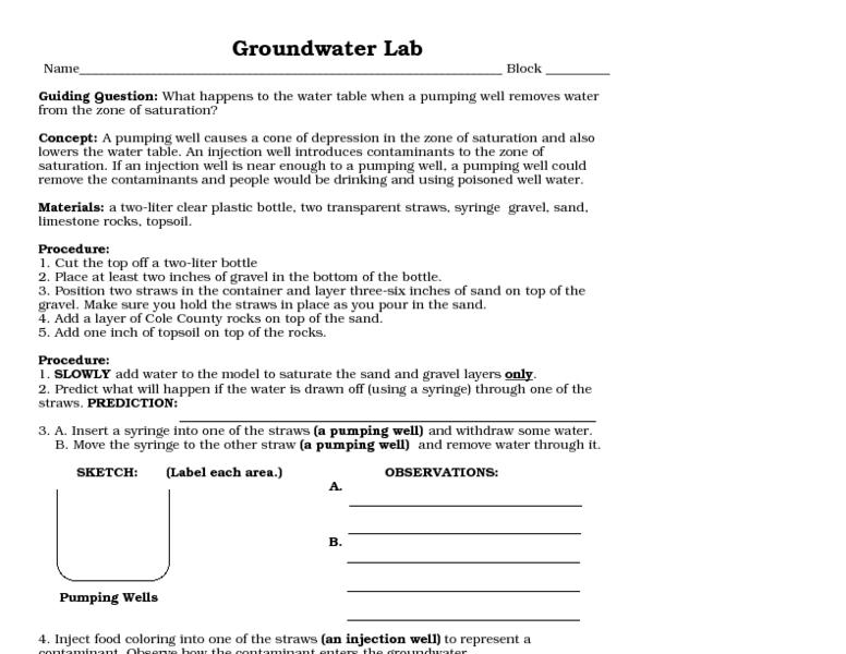 Groundwater Lab 10th 12th Grade Worksheet – Groundwater Worksheet