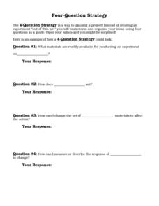 Four Question Strategy Worksheet