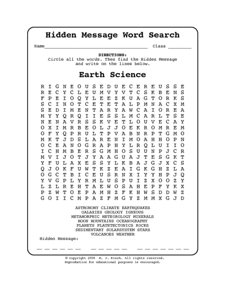 Hidden Message Word Search-Earth Science 7th - 9th Grade Worksheet ...