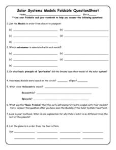 Solar Systems Models Foldable Question Sheet Worksheet