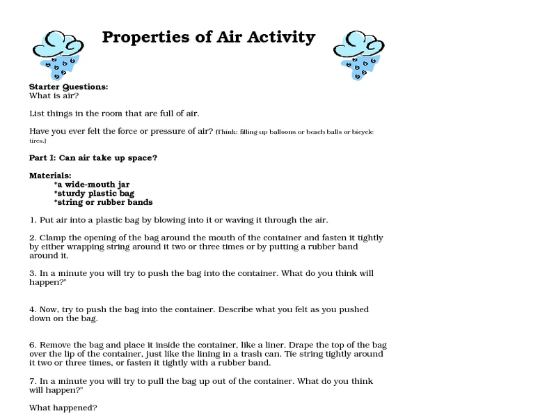 Properties of Air Activity Worksheet for 7th - 10th Grade