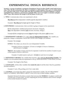 Experimental Design Reference Worksheet for 9th - 12th Grade ...