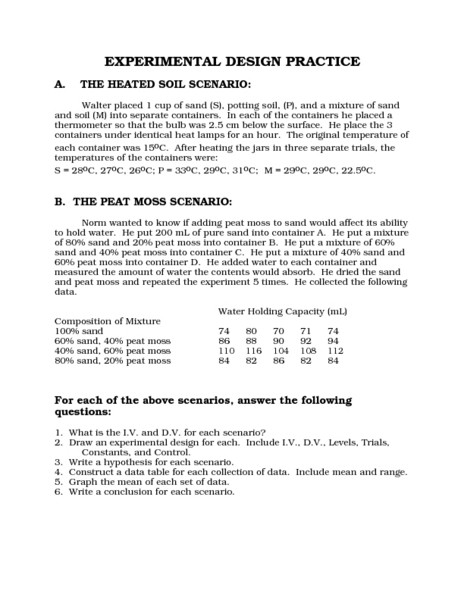 Experimental Design Practice 7th - 10th Grade Worksheet | Lesson ...