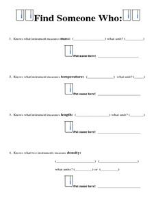 Find Someone Who...Measurements Worksheet