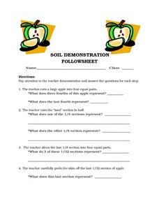 Soil Demonstration Follow Sheet Worksheet