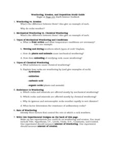 Weathering, Erosion, and Deposition Study Guide Worksheet