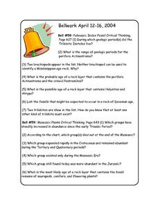 Bellwork April 12-16 Worksheet