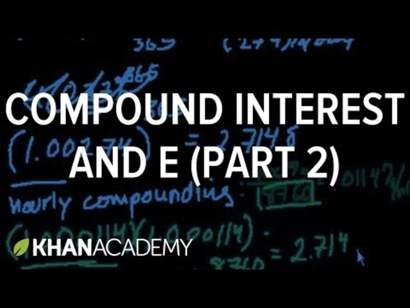 Compound Interest and e (Part 2) Video