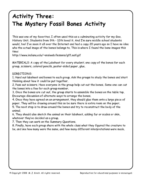 Life science dating the fossil record activity answers