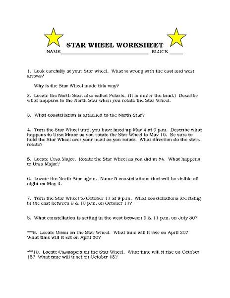 Star Wheel Worksheet Worksheet for 8th - 10th Grade | Lesson ...