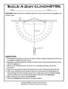 Build a Sun Clinometer Worksheet