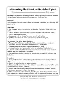 Measuring the Wind in the School Yard Worksheet