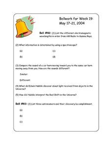 Bellwork for Week 19-Electromagnetic Spectrum and Planets Worksheet