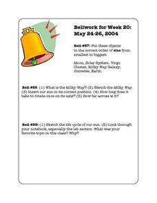 Bellwork Week 20-Space Science Worksheet