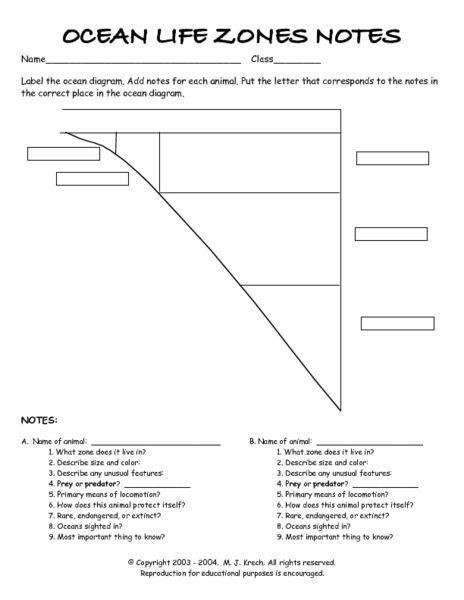 Ocean Zones Worksheets Reviewed By Teachers
