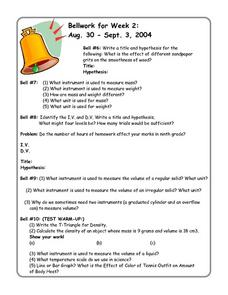 Bellwork for Week 2-Experimental Design and Measurements Worksheet