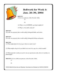 Bellwork for Week 4-Geology and the Periodic Table Worksheet