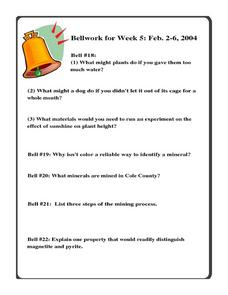 Bellwork for Week 5-Minerals and Experimental Design Worksheet