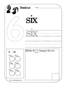 Counting Worksheet: Number Six Worksheet
