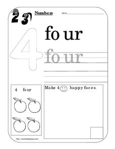 Counting Worksheet: Number Four Worksheet