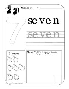 Counting Worksheet: Number Seven Worksheet