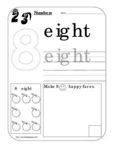 Counting Worksheet: Number Eight Worksheet