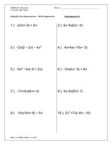 Expressions: Simplify with Exponents Worksheet
