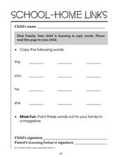 Learning to Copy Words: School-Home Links Worksheet