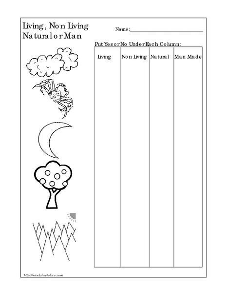 living non living natural or man made worksheet for pre k 1st grade lesson planet. Black Bedroom Furniture Sets. Home Design Ideas