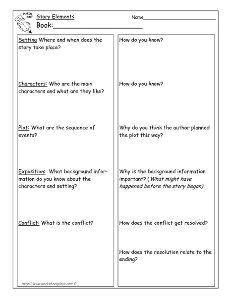 Write On! - Story Elements Details Graphic Organizer for 6th