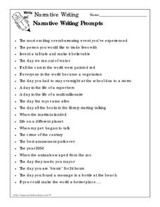 photo about Writing Prompts for 4th Grade Printable titled Narrative Producing Prompts Worksheet for 4th - 5th Quality