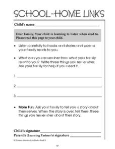 School-Home Links: Listening When Read To Worksheet