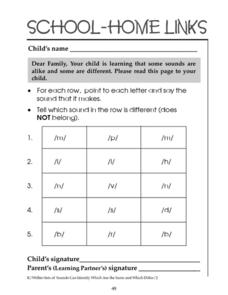 School-Home Links: Alike and Different Sounds Worksheet