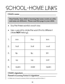 School-Home Links: Same and Different Words Worksheet