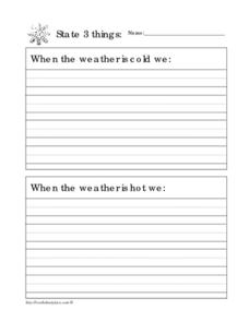 State 3 Things: Weather Worksheet
