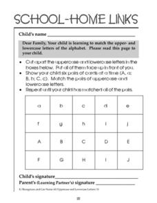 School-Home Links; Matching Upper and Lowercase Letters Worksheet