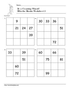 Be a Counting Wizard! Counting by 3, Part 2 Worksheet