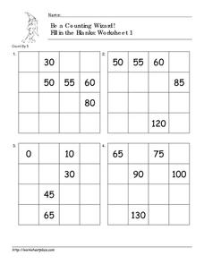 Be a Counting Wizard! Counting by 5, Part 2 Worksheet