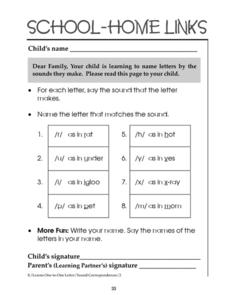 School-Home Links: Name Letters by the Sounds they Make Worksheet