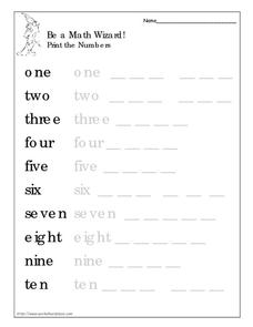 Be a Math Wizard! Print the Numbers Worksheet