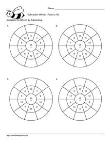 Subtraction Wheels (Facts to 15) Worksheet