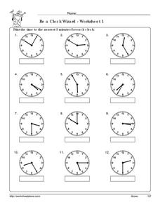 Be a Clock Wizard: Worksheet 1 Worksheet