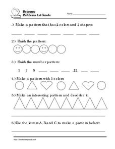 1st Grade Pattern Word Problems Worksheet