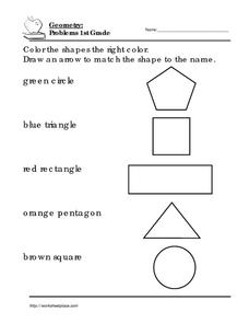 Geometry Problems 1st Grade: 1 Worksheet