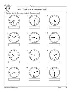 Be a Clock Wizard - Worksheet 10 Worksheet