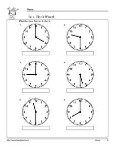 Be a Clock Wizard: Half-Hour Worksheet