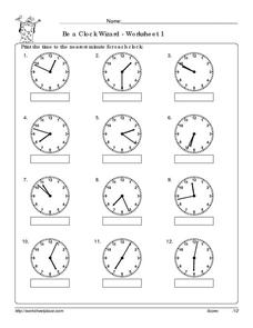 Be a Clock Wizard: To the Minute Worksheet